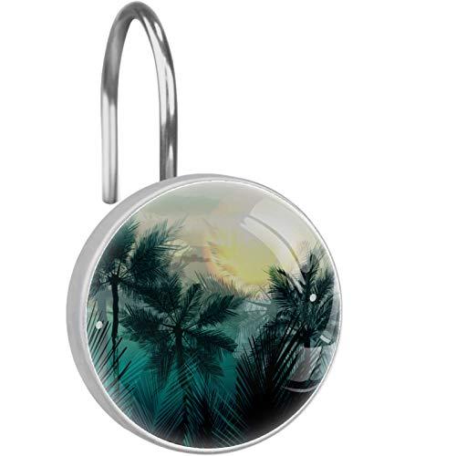 ZDL Tropical Palm JungleShower Hook, cada juego de 12 ganchos de ducha de acero inoxidable a prueba de óxido, anillo de decoración de baño, sala de estar, dormitorio, decoración del hogar