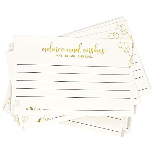 "50 Advice and Wishes Cards for the Mr and Mrs 4"" x 6"" with Gold Foil Note Card Write and Sign for Bride & Groom Newlyweds Wedding Reception Guestbook Alternative Bridal Shower Games Party Supplies"