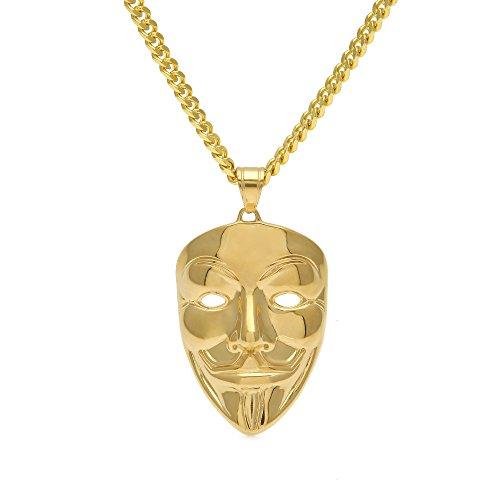 Modow Hip Hop V-Vendetta Edelstahl Vergoldet Bling Anhänger mit 70cm Halskette, Rapper Gangster Party Bekleidungszubehör