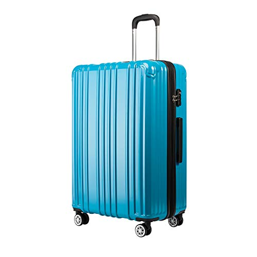 COOLIFE Expandable Suitcase(Only L Size Expandable) Hardshell Luggage Lightweight Durable PC+ABS Material with TSA Lock and 4 Spinner Wheels (Turquoise Blue, L(76cm 93L))