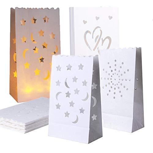 bolsas velas papel,Mengger 30Pcs bolsas de luz papel led luminaria velas candle bags Pantalla linternas Luminaria farolillo para Hogar Navidad Fiesta Romántica Decoración de la Boda