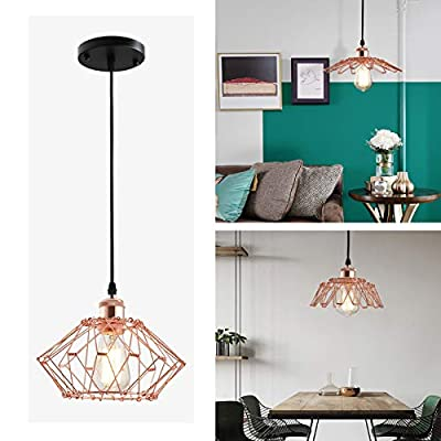 Rose Gold Pendant Light Geometric Diamond Hanging Light