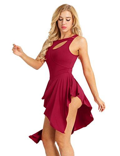 iEFiEL Damen Ballettkleid, Damen Ballettanzug Ballett Trikot Turnanzug Latin Rumba Tango Tanzkleid mit Rock Gr. XS S M L XL Rot Medium