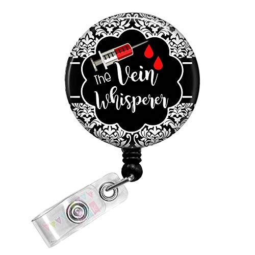 Vein Whisperer Phlebotomist Black Retractable D Tag Badge Reel by Geek Badges
