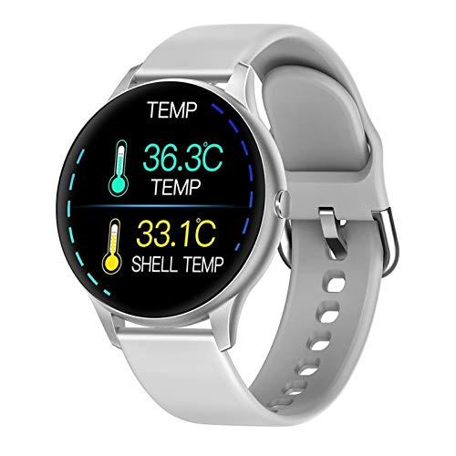 LYB Reloj inteligente para mujer K21, termómetro de cuerpo, impermeable, pulsera para hombre, pulsera de fitness, para teléfono Android IOS (color 001)
