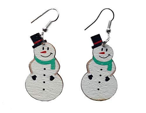 Miniblings Pendientes de muñeco de nieve hechos a mano joyería de moda nieve invierno Navidad clásico – Percha