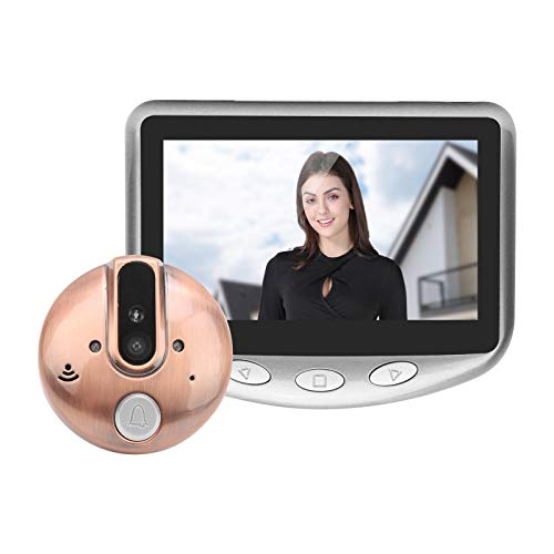 4.3in Video Timbre 720P Video Timbre Mirilla Cámara Visor de la puerta Visión nocturna 120 grados Gran angular Visión nocturna por infrarrojos para seguridad en el hogar(gris)