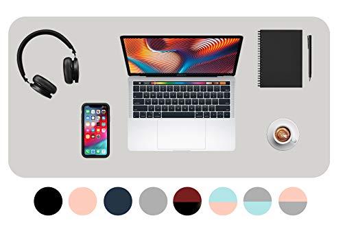 Novaza Tech Schreibtischunterlage, Schreibtischmatte PU-Leder Tischunterlage, Laptop Tischunterlage, wasserdichte Schreibtischunterlagen für Büro/Zuhause doppelseitig (Grau, 90x43cm)