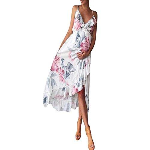 K-youth Vestido Mujer Embarazada Vestidos Premama Fiesta Volantes Florales Boda Mujer Embarazada Vestidos Faldas de Maternidad Apoyos de Fotografía Playa Vestido Fotos Embarazo (Blanco, L)