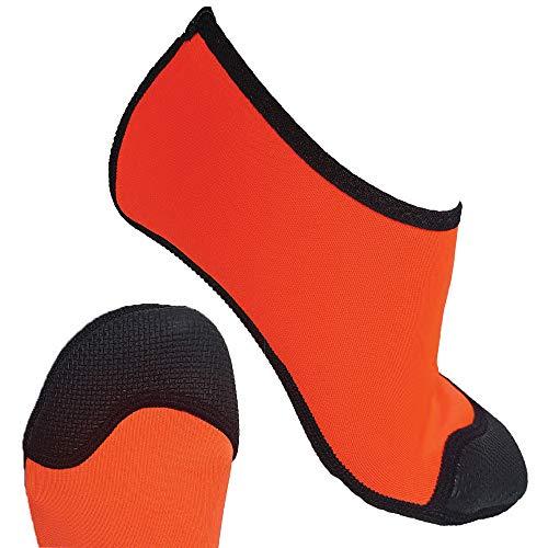 SwimCell Schwimmsocken für Kinder und Erwachsene mit Gummi-Zehenschutz und rutschfester Sohle Barfuß Walking Neopren Socken für Strand, Pools und Ozean Leichter als Schuhe Gr. 9 Jahre, Orange