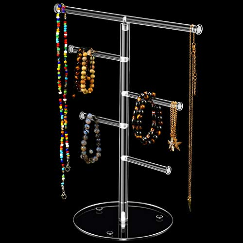 Organizador de Soporte de Joyería de Árbol de Acrílico Transparente, Barra en T Soporte de Exhibición de Collar Pendientes, Estante Colgante con 4 Soportes Pequeños para Más Joyas