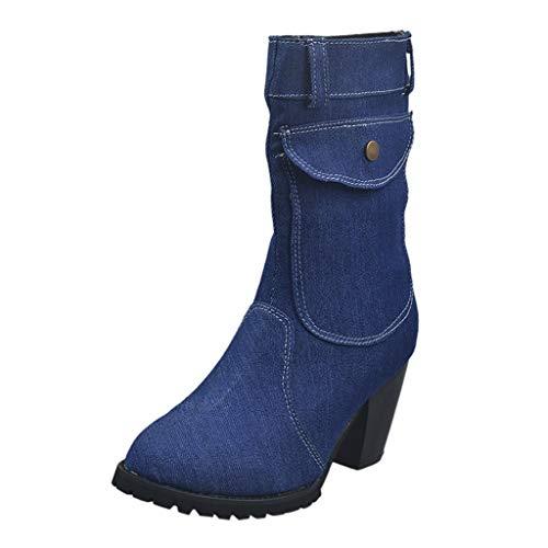 Stivali da Neve Donna Scarpe Stivaletti Invernali Outdoor Stile Grande Tacco Alto in Denim a Tubo Medio (37,Blu Scuro)