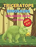 Triceratops dinosaur coloring book for kids ages 8-12: A dinosaur coloring book for kids as birthday gift, christmas gift that helps to relief