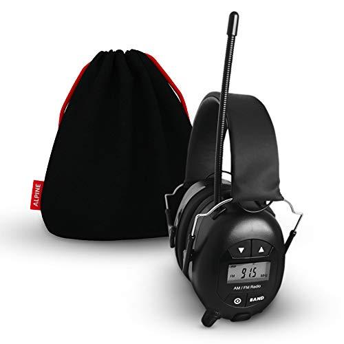 Alpine Radio Gehörschutz – Sicherheits-Ohrenschützer mit AM/FM-Radioempfänger - Digitalbildschirm - Tasche und Batterien – Musik hören und Gehör schützen!