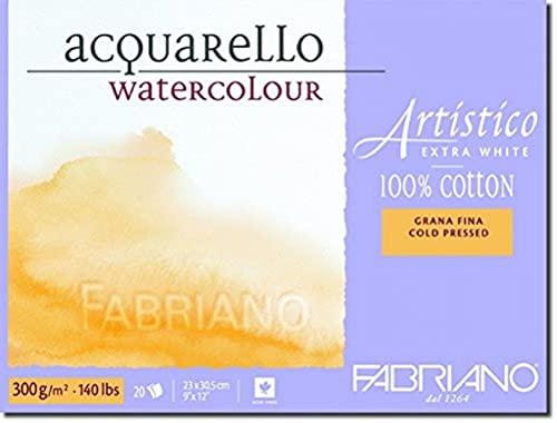 Fabriano Artistico 140 lb. Cold Press 20 Sheet Block 9x12' - Extra White