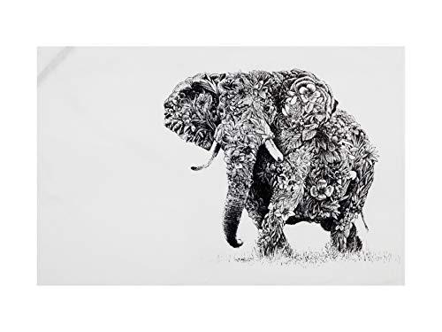 Maxwell & Williams Marini Ferlazzo - Strofinaccio con elefante africano, 100% cotone indiano, 50 x 70 cm, colore: Bianco