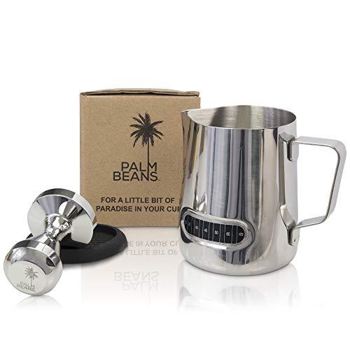 Palm Beans Milchaufschäumkrug aus Edelstahl, 53 mm, Espresso-Tamper Set, Kaffeestampfer-Set, perfekt für Espressomaschinen, Milchkrug mit Messskala, Edelstahl-Dampfkrug