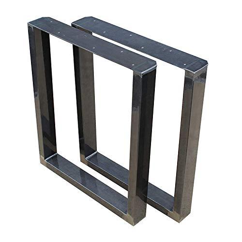 1 Paar (2 Stück) BestLoft Kufen – Tischkufen im Industriedesign aus Rohstahl (90x72cm, Transparent Pulverbeschichtet)