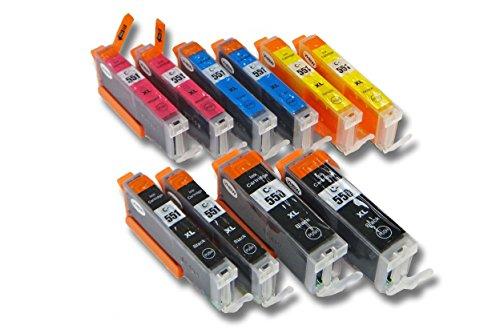 vhbw 10x Druckerpatronen Tintenpatronen Set mit Chip für Canon Pixma MG7550, MX725, MX925 wie CLI-551BK/C/M/Y, PGI-550BK.