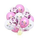 Ballon Confettis Rose Rouge, Ballons Confettis Rose Rouge, Licorne Partie Fournitures Décorations Anniversaire, pour Fournitures De Fête Mariage Anniversaire Baptême Baby Shower Communion (15Pcs)