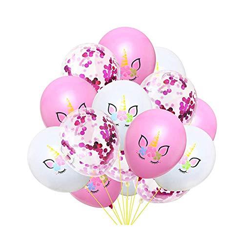 Unicorno Palloncini Compleanno Decorazioni, Set di Banner Festa Compleanno, Oro Rosa coriandoli Palloncini Party Balloon per Matrimonio, Compleanno, Baby Shower, Cerimonia Party Decorazioni(15 Pezzi)