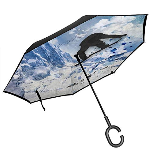 Double Layer Inverted Umbrella with C-Shaped Handle,Snowboarder in flight Anti-UV Waterproof Windproof Straight Umbrella for Car Rain Outdoor Use