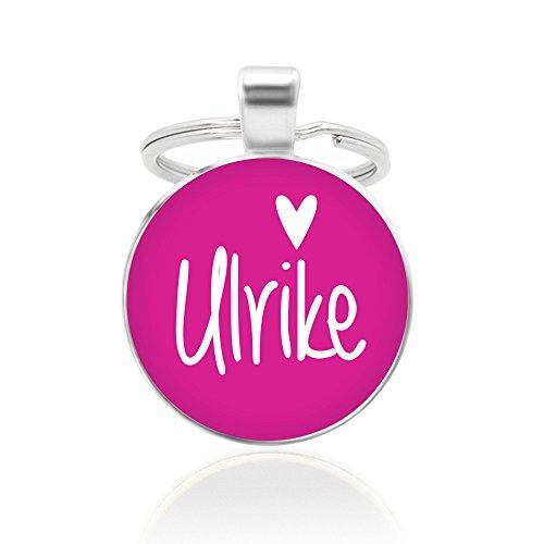 Schlüsselanhänger - pink, 25mm, Cabochon mit Wunschtext und Herz-Motiv