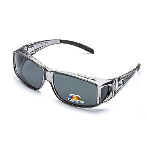 LVIOE Unisex Polarisiert Sonnenbrille Brille Überbrille für Brillenträger, Fit-over Polbrille für Herren und Damen 100% UVA UVB Schutz