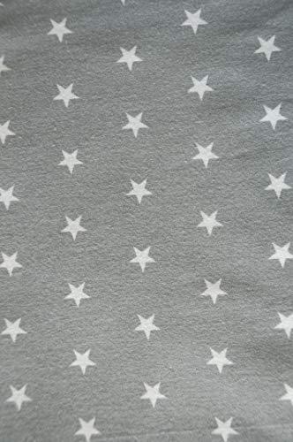La Bortini Flanell Baumwolle L x B 100x160cm Flanellstoff Bettwäsche Babybekleidung Decke Meterware Grau Weiß Sterne