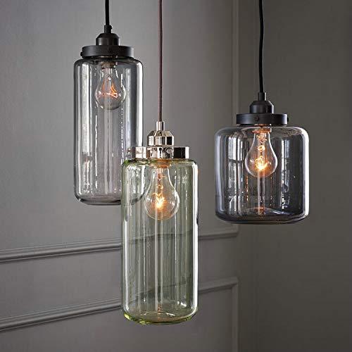 Lámpara de mesa de comedor con luz colgante vintage, Lámpara colgante retro de cristal en transparente, Lamparapendiente 3 lámparas, Lámpara de salón colgante con casquillo E27, altura...