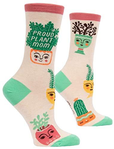 Blue Q Women's Crew Socks, Proud Plant Mom. (fit shoe size 5-10)
