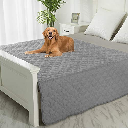 SPXTEX Pet Blanket Pee Urine Proof Dog Blanket for Couch Sofa BedSoft Reversible Furniture Protector CoverLiquid Resistance Blanket for Large Dogs Cats Kids Children 1 Piece 52'x82' Dark Grey+Grey