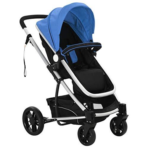 vidaXL Cochecito Silla de Bebé 2 en 1 Aluminio Tela Oxford Azul Negro Carrito