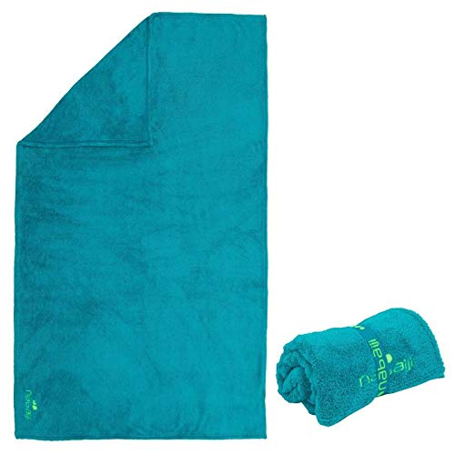 Nabaiji Toalla de baño de microfibra suave, tamaño L, 130 x 80 cm, color turquesa y azul ✅