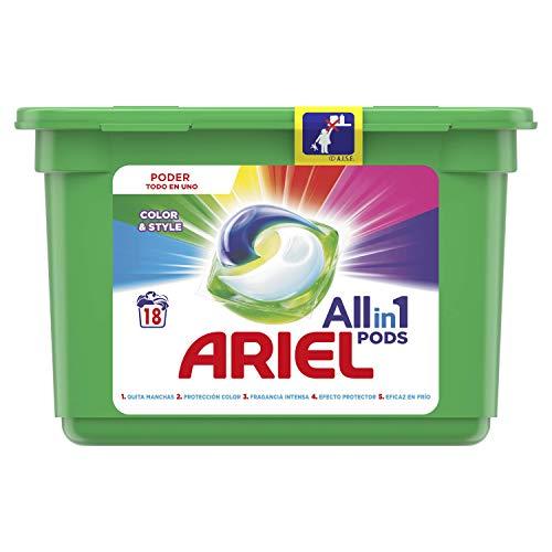 Ariel All in One Pods, Color wasmiddel in capsules, 18 wasbeurten, bij 20 °C en langdurige geur