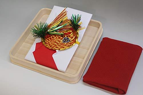 結納金袋(赤白)鯛・ヘギ台付・正絹ちりめん風呂敷68cm(エンジ)付き