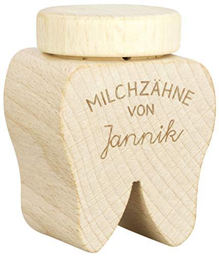 LAUBLUST Milch-Zahndose mit Namen - Zahn Design & Smiley Gravur - ca. 4x4x6cm, Holz   Geschenk & Andenken für Kinder