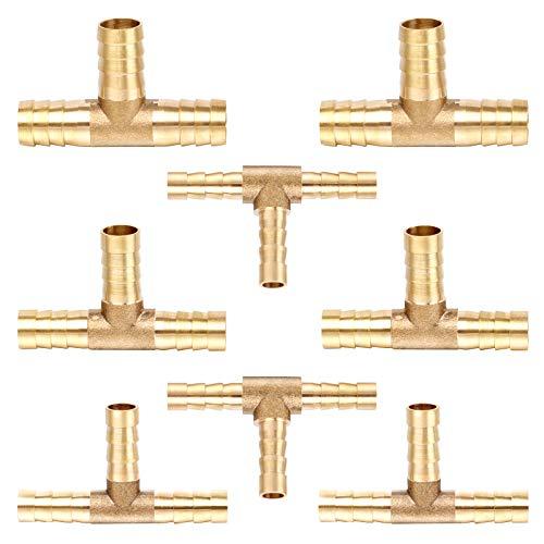 Huayue 8Pcs Conector de Manguera en T 6/8/10/12mm, Conector de Púas Conector de Manguera de Gas Conector 3 Vías en T Latón para Manguera Agua Gas Combustible Aire (6/8/10/12mm)