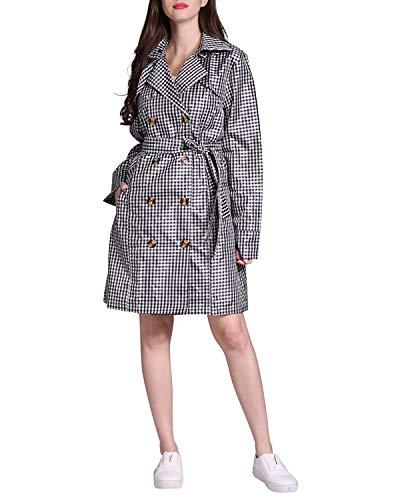 SUIWO Regenkleding regenpak Lichtgewicht waterdicht dames Retro Plaid Taille Tie regenjas Waterproof Double Breasted Windbreaker Raincoat for Travel (Color : Black, Size : L)