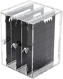 Maliyaw Agujeros De Plástico Pendiente De Exhibición del Caso del Organizador Titular De La Joyería Caja De Almacenamiento...