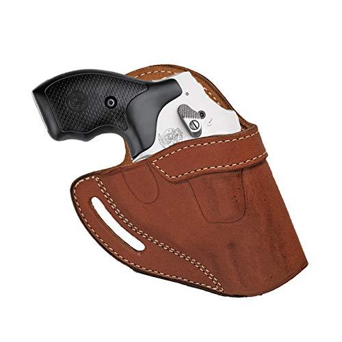 """Ruger LCR Revolver_Leather OWB Belt Holster_S&W 2"""" J Frame 36 60 442 642 340PD Brown"""
