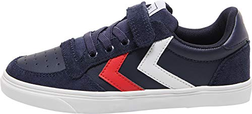 Hummel Unisex-Kinder Slimmer Stadil Leather Low Jr Sneaker Niedrig, Peacoat, 27 EU