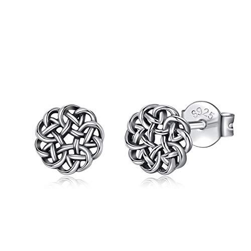 INFUSEU Irish Celtic Knot Stud Earrings Vintage Sterling Silver Round Eternity Love Flower Jewelry for Women Girl