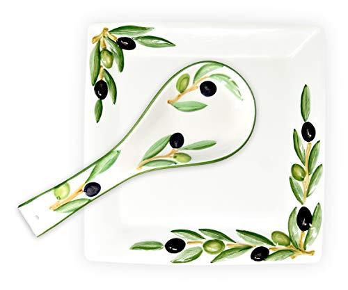 Lashuma 2er Set Handgemachte Keramik, Oliven Servierplatte 27 x 27 cm und Löffelablage aus Italienischer Keramik