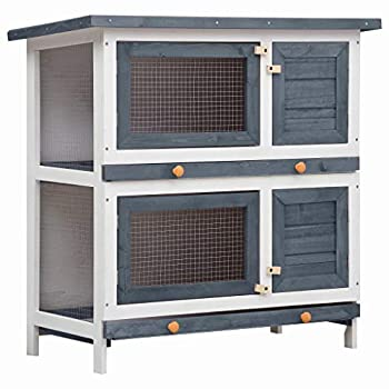 2 Story Rabbit Hutch Indoor/Outdoor Wooden Bunny Cage Chicken Coop Guinea Pig House Small Animal Cage with Trays for Garden Backyard