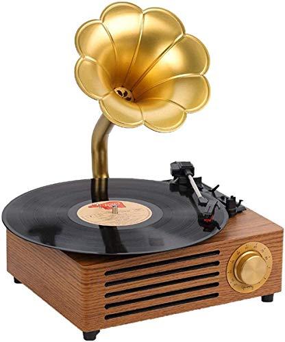 ZHIRCEKE Kleine Vinylaufzeichnung Spieler Grammophon, Retro Home Wohnzimmer Bluetooth Jukebox, Spielerunterstützung 3.5mm Audio Bluetooth 4.2 AUX-IN/USB Vintage Phonographen,B