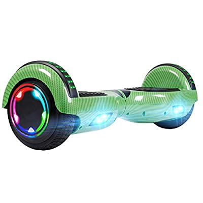 "UNI-SUN Hoverboard for Kids, 6.5"" Two Wheel Electric Scooter, Self Balancing Hoverboard with LED Lights for Adults, UL 2272 Certified Hover Board (Bluetooth - Carbon Green)"
