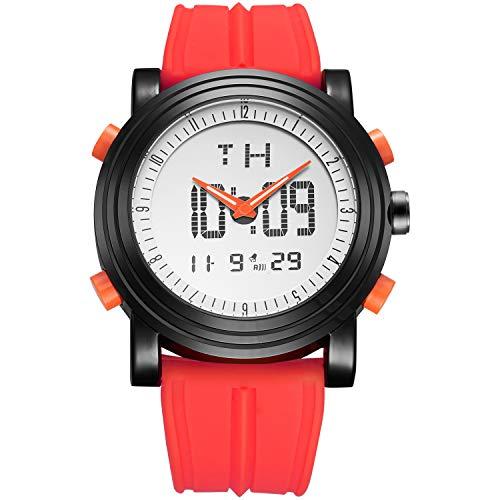 BUREI WATBUREI Digitale Herren Uhren Analog LED Multifunktion Sport Armbanduhr mit Alarm Stoppuhr und Kautschuk ArmbandCH