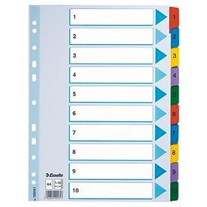 ESSELTE 100161 – Indice para carpetas multitaladro cartón MYLAR DIN A4 con cartulina índice color 1-10 multicolor
