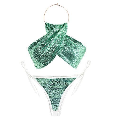 AiSi Damen Mädchen sexy hot Glitzer Bikini-Set Neckholder-Bikini Badeanzug Bademode Bikinihose Bikinioberteile Neckholder mit Pailetten (Green XL)